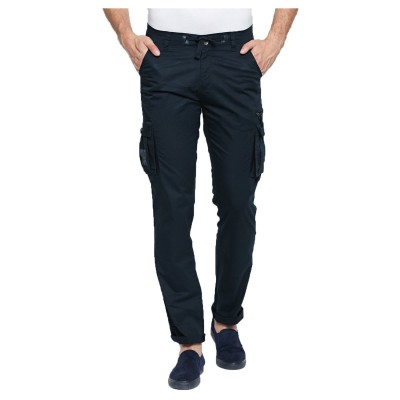 BeeVee Men Navy Blue Regular Fit Cargos