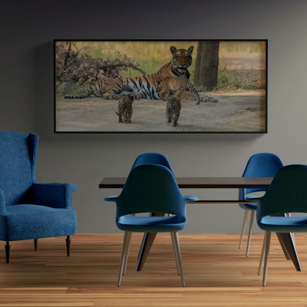 Canvas Of Kishanpur Tigress With 5 Cubs By Gyaan Dixit