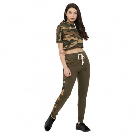 Campus Sutra women olive green camouflage print joggers