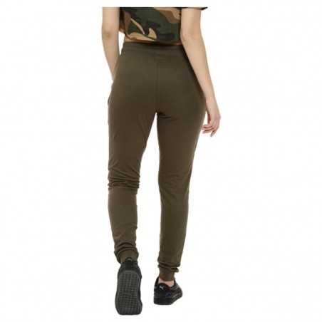 Campus Sutra women olive green camouflage print joggers back
