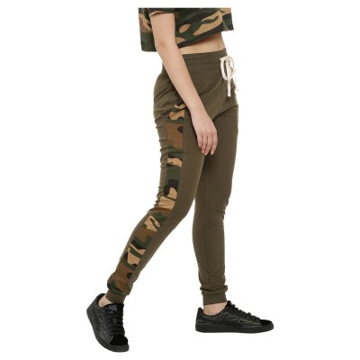 Campus Sutra women olive green camouflage print joggers side
