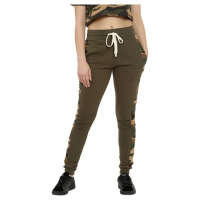 Campus Sutra women olive green camouflage print joggers front